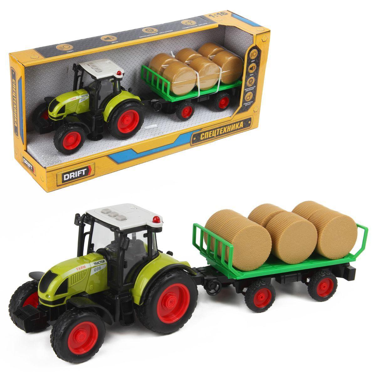 Трактор с прицепом для сена FARMLAND 1:16, фрикц.механизм, со зв. и св.