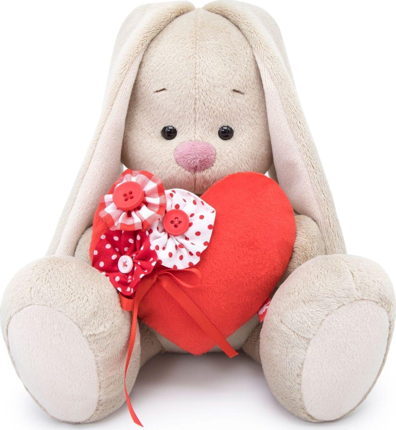"""Мягкая игрушка """"Зайка Ми с красным сердечком"""", 18 см"""