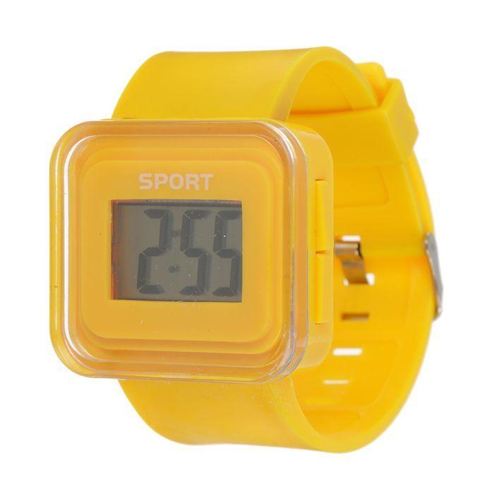 Часы наручные электронные, ремешок силикон, циферблат квадратный 1.5х2.5 см