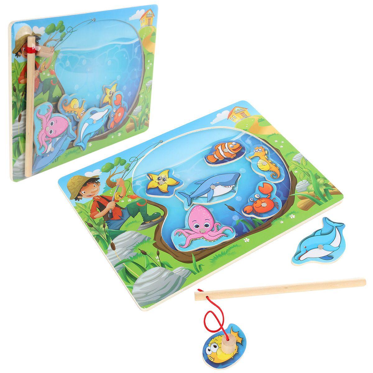 """Деревянная игрушка Игра на ловкость """"Веселая рыбалка"""", в ассортименте, 30*22,5*0,7 см."""