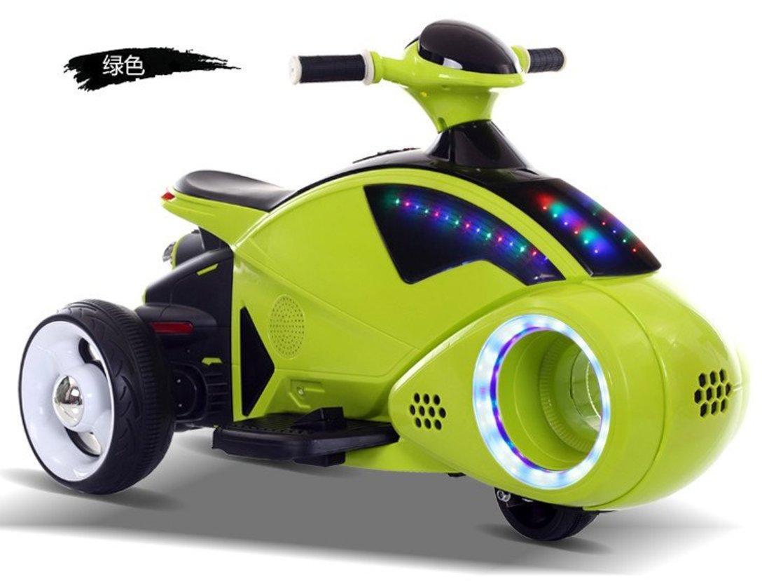 Мотоцикл трехколесный зеленый 6V7AH, 20W*2, кнопка старта, дисплей питания