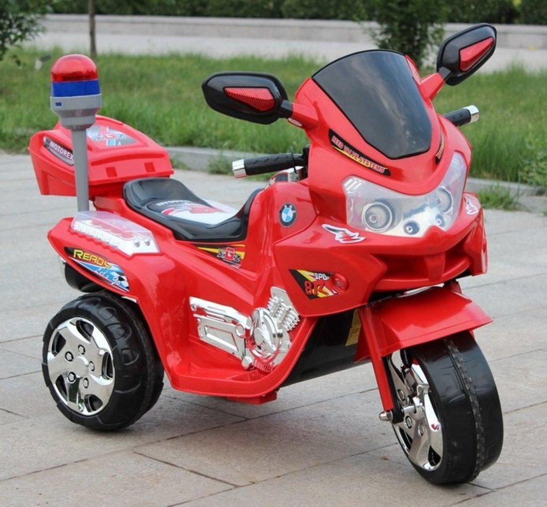 Детский мотоцикл с мягким сидением и сигнальным прожектором трехколесный