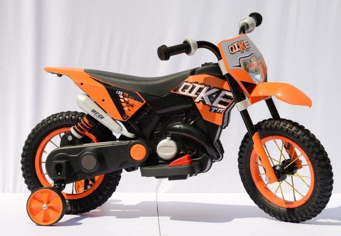Мотоцикл черно-оранжевый 6V4AH, 25W, пневмат.шины