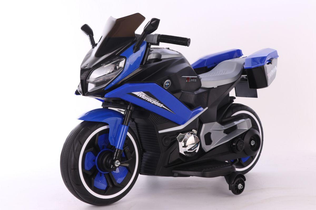 Крутой детский мотоцикл на аккумуляторе, синий цвет