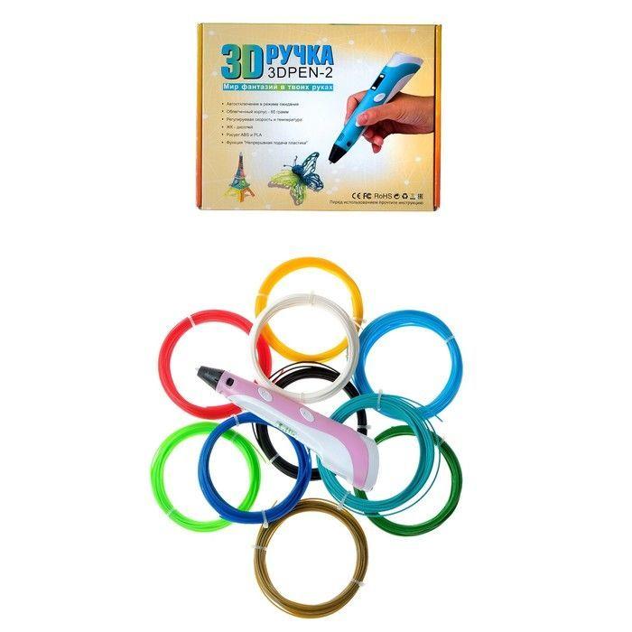 Комплект 3Д ручка NIT-PEN2 розовая + пластик PLA 10 цветов по 10 метров