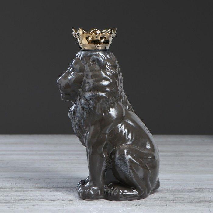 """Копилка """"Лев с короной"""", серая, 25 см"""