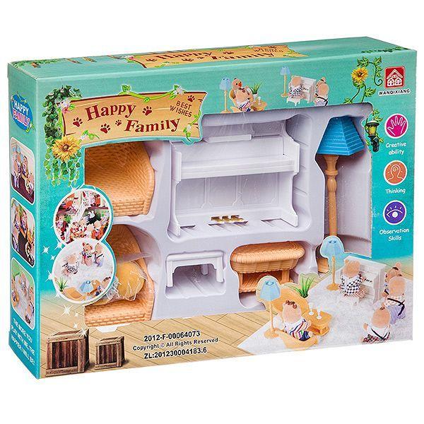 Игровой набор Happy Family с фигуркой зверюшки, комната