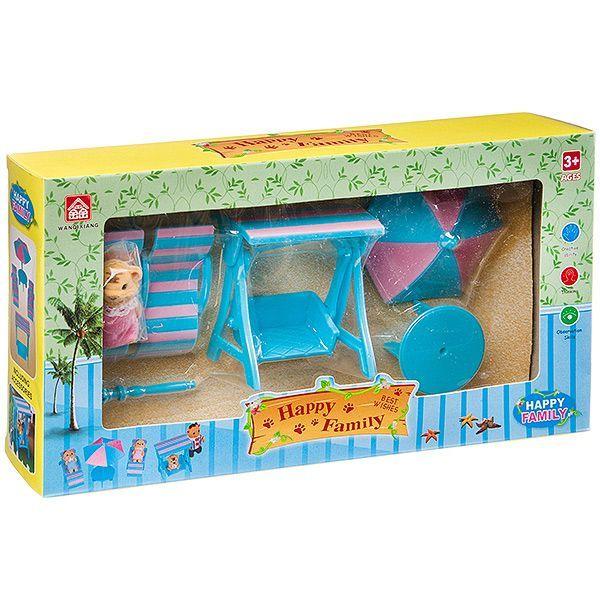 Игровой набор Happy Family с фигуркой зверюшки, пляж