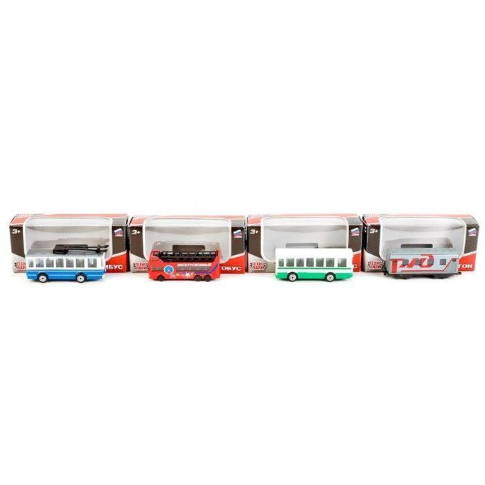 Машина металлическая: 2-эт. Автобус/Вагон РЖД/Троллейбус/Автобус, 7,5 см