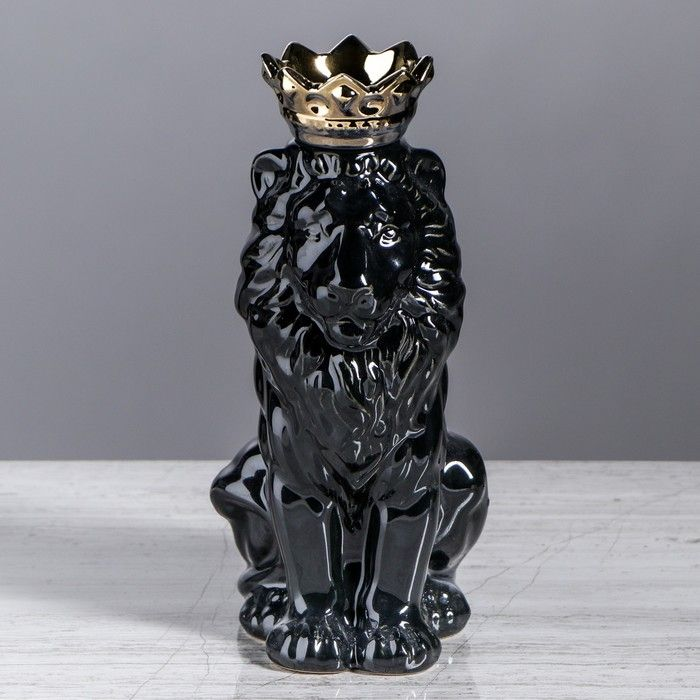 """Копилка """"Лев с короной"""", глянец, черная, 25 см"""