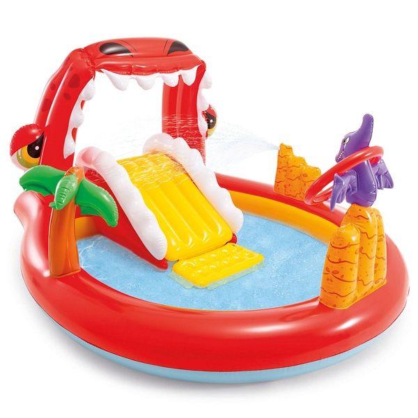 Игровой центр-бассейн Happy Dino, с горкой, распылителем