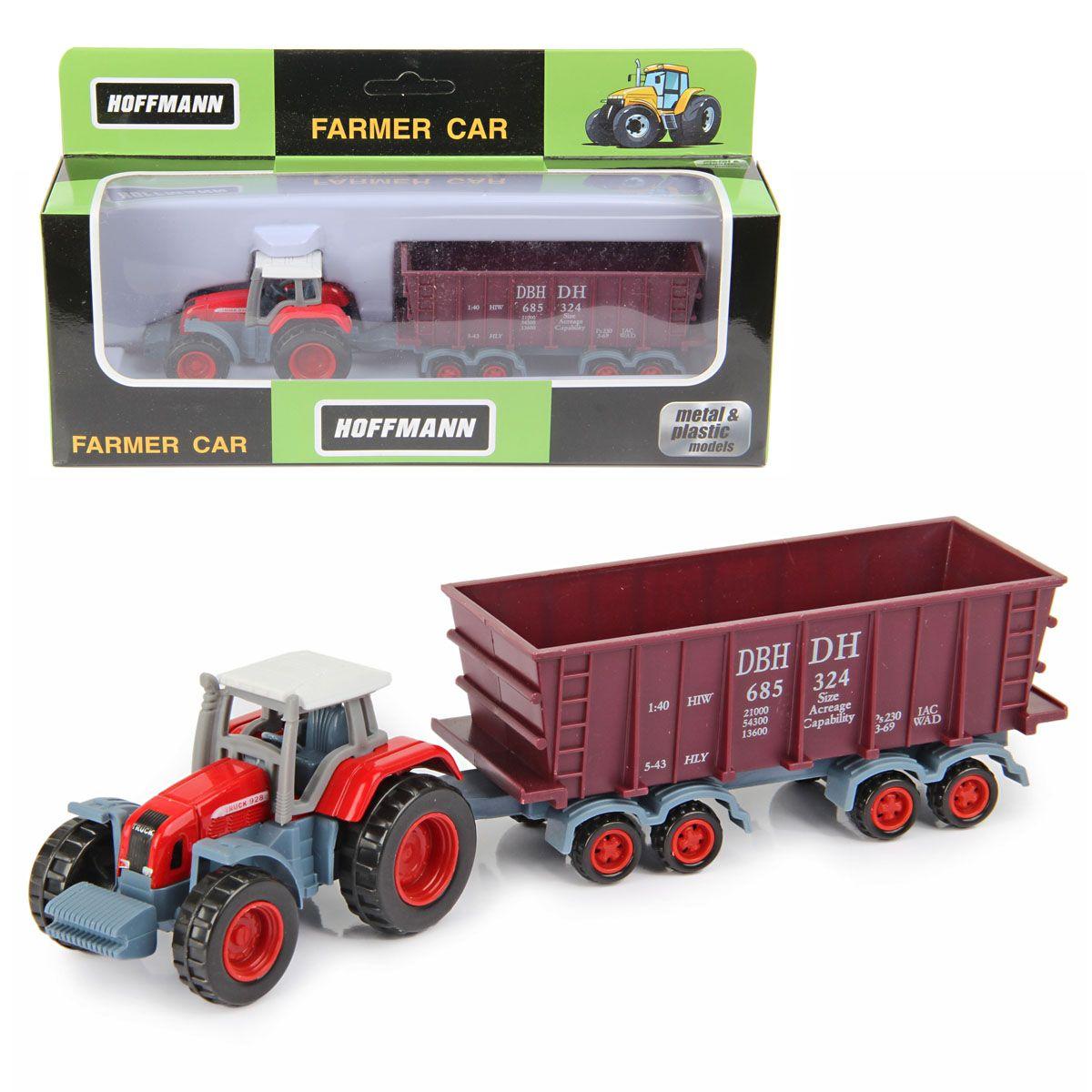 Металлический трактор с кузовом на прицепе, 1:72
