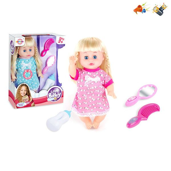 Кукла на бат. со звуком, в комплекте: расческа, зеркало, бутылочка