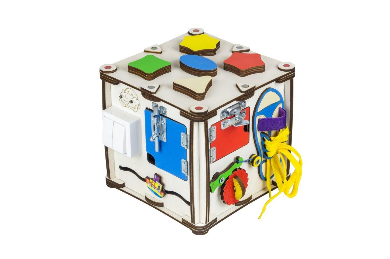"""Бизиборд """"Кубик Мультицвет"""", 22х22х23 см (свет)"""