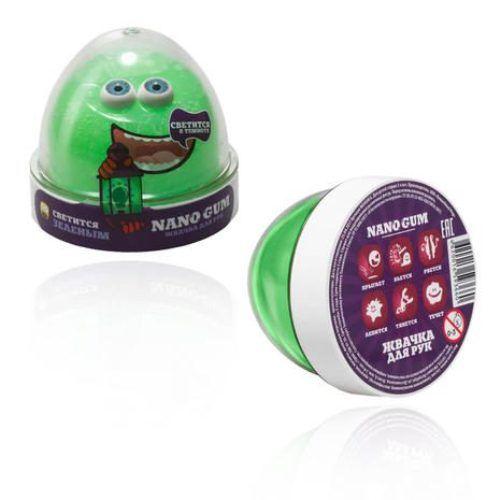 Жвачка для рук Nano Gum (светится в темноте), зеленая, 50 гр.