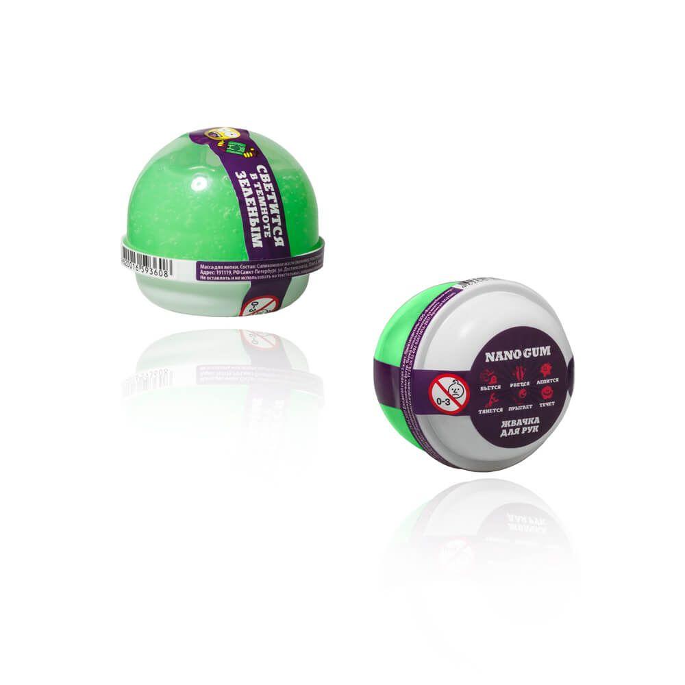 Жвачка для рук Nano Gum, светится в темноте, зеленый, 25 гр.