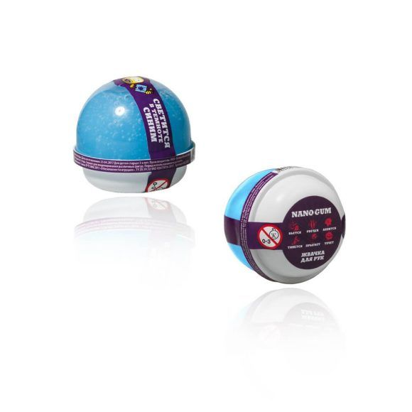 Жвачка для рук Nano Gum, светится в темноте, синяя, 25 гр.