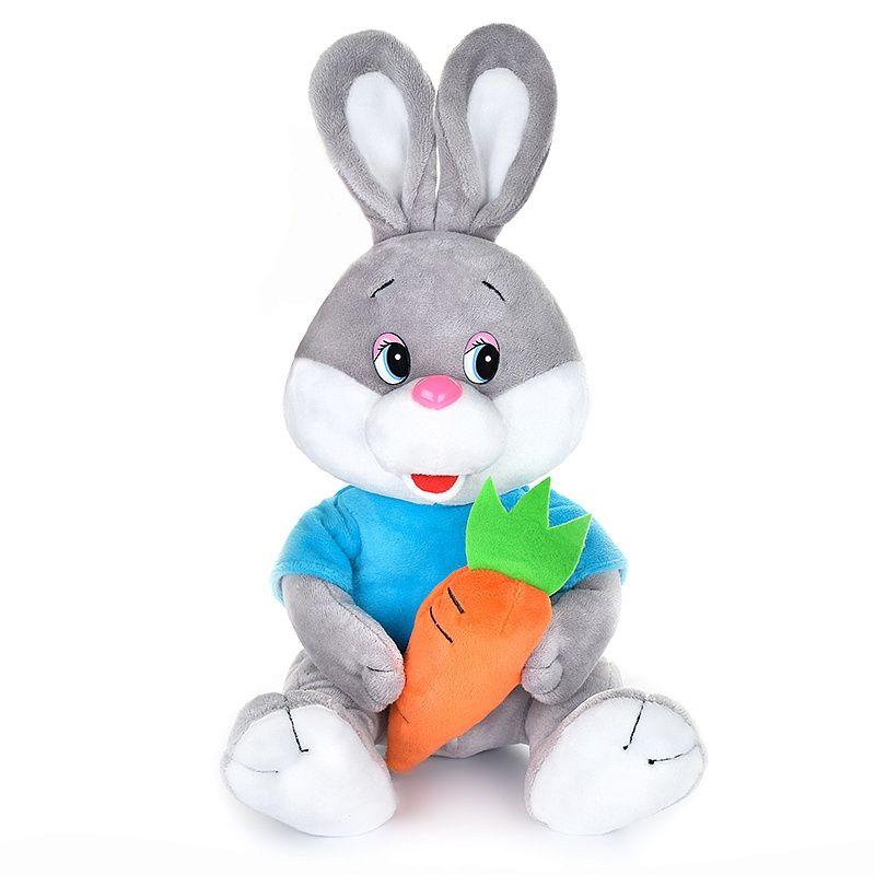 """Мягкая игрушка """"Зайчонок с морковкой в футболке"""" (звук), 21 см"""