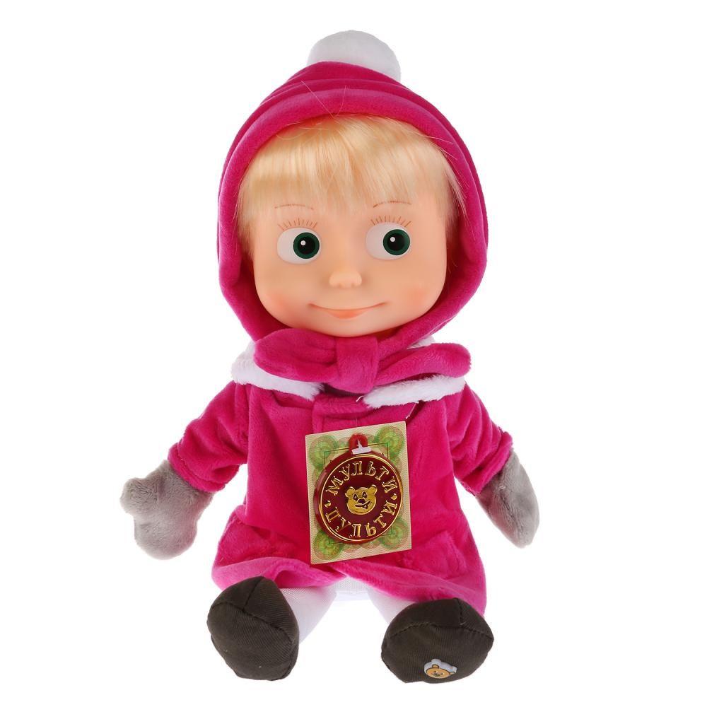 """Мягкая кукла """"Маша и медведь"""" - Маша в зимней одежде (звук), 29 см"""