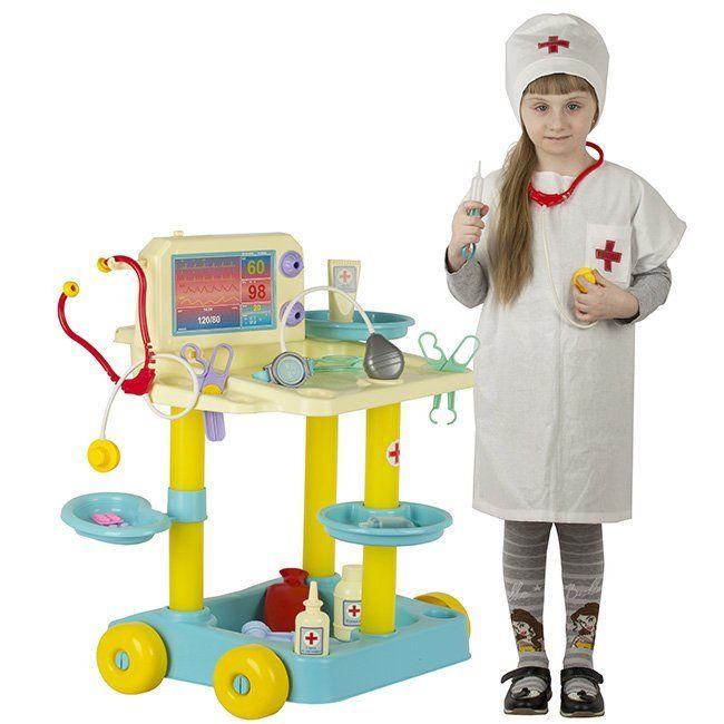 """Игровой набор """"Доктор"""" с тележкой и костюмом, 13 предметов"""