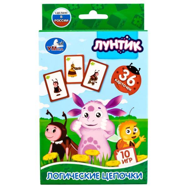 """Развивающие карточки """"Лунтик"""" - Логические цепочки, 36 карточек"""