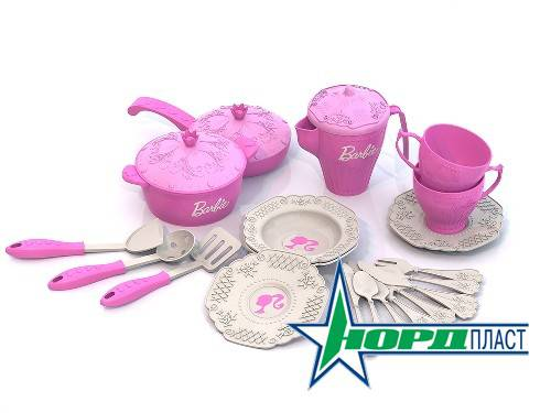 """Набор кухонной и чайной посудки """"Барби"""", 21 предмет"""