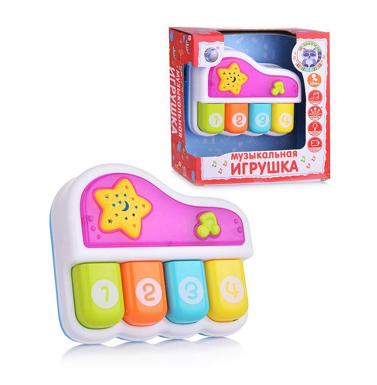 """Музыкальная игрушка """"Е-Нотка"""" - Пианино (свет, звук), белое"""