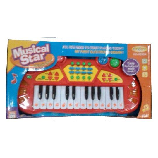Игрушечный синтезатор Musical Star (свет, 8 ритмов), красный