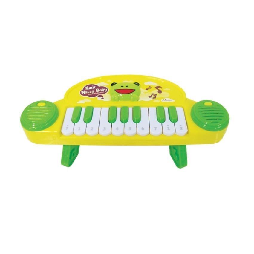 Детское пианино Music Hallo Baby на ножках, желто-зеленое, 17 клавиш