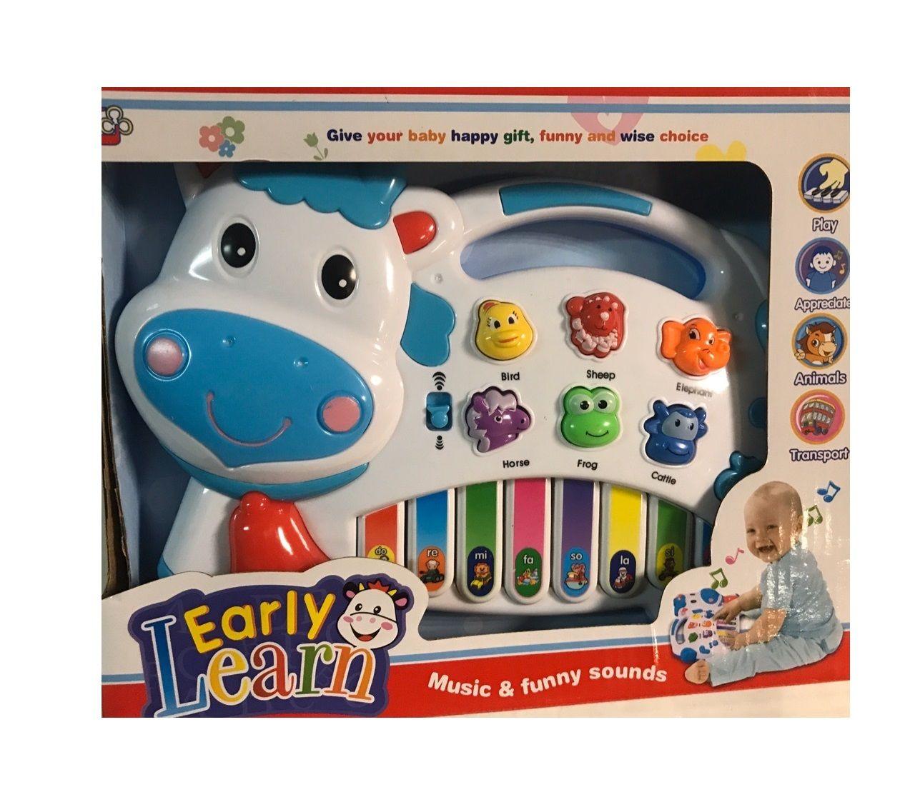 Игрушечное пианино для малышей Early Learn Коровка (свет), белая