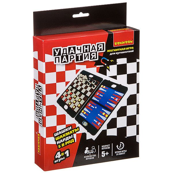 """Магнитная игра 4 в 1 """"Удачная партия"""" - Шахматы, шашки, нарды"""