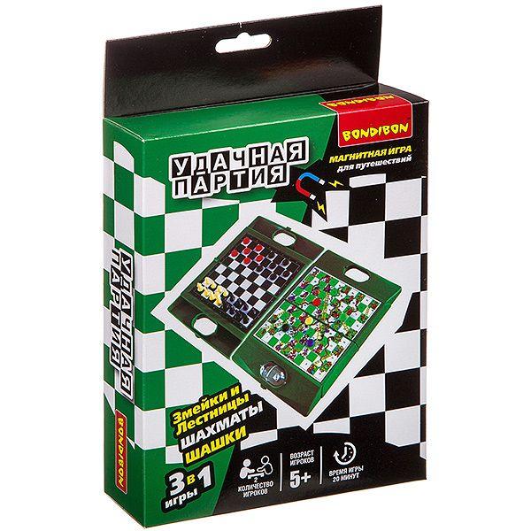 """Магнитная игра 3 в 1 """"Удачная партия"""" - Шахматы, шашки, змейки и лестницы"""