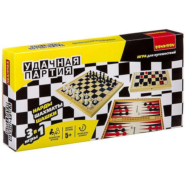 """Набор игр 3 в 1 """"Удачная партия"""" - Нарды, шахматы, шашки"""