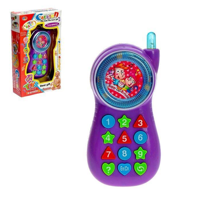 Телефон обучающий, световые и звуковые эффекты, работатает от батареек