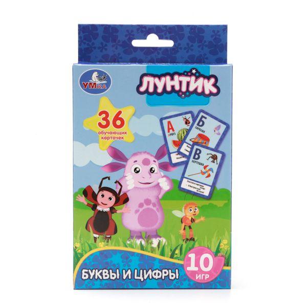 """Развивающие карточки """"Лунтик"""" - Учим буквы и цифры, 36 карточек"""