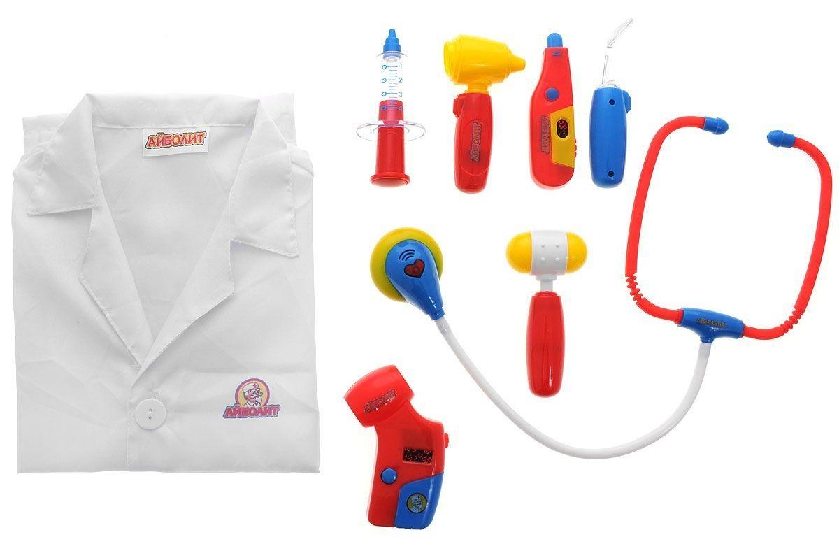 """Игровой набор """"Доктор Айболит"""" с халатом (свет, звук), 8 предметов"""