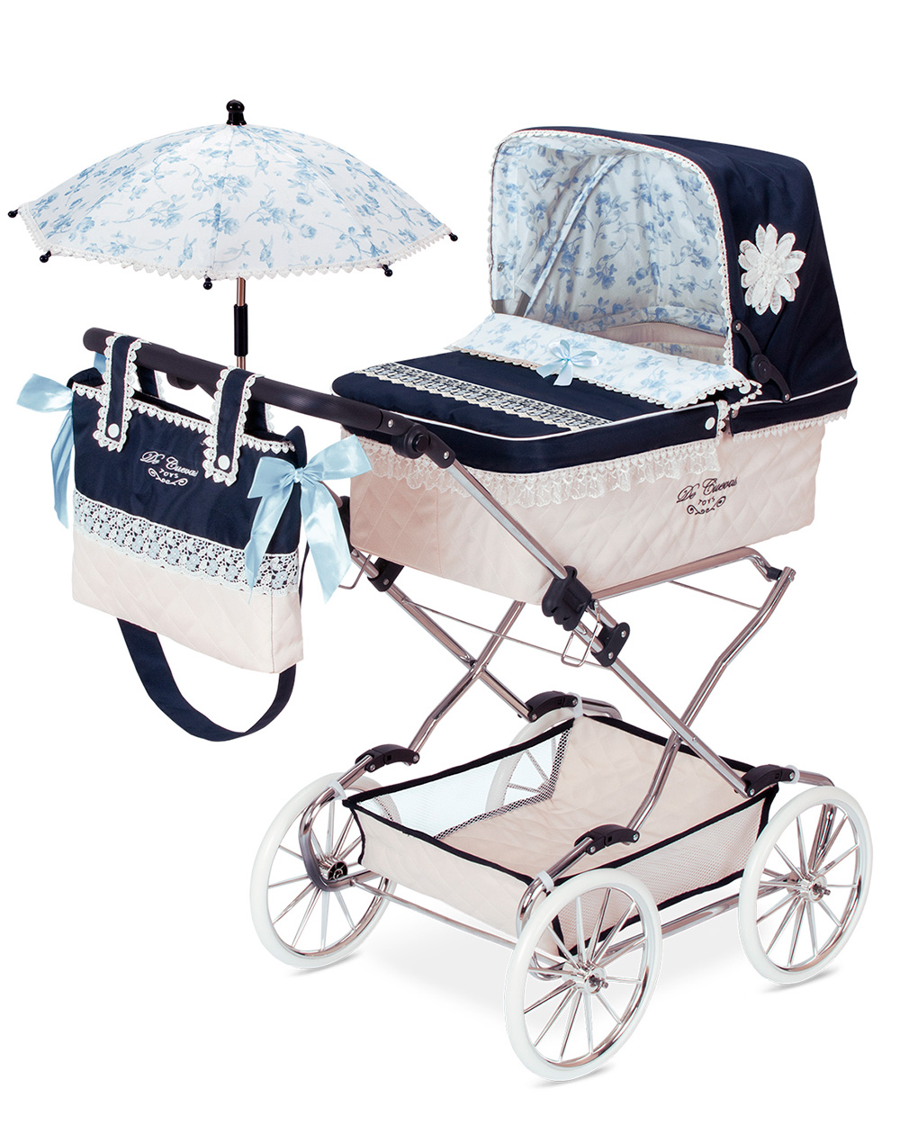 """Коляска для куклы """"Романтик"""" с сумкой и зонтиком, 90 см"""