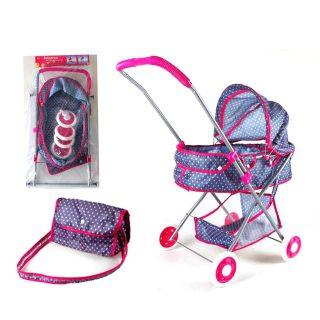 """Коляска-люлька для кукол """"Конфетти"""" с корзиной и сумкой"""