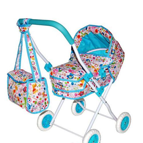 """Коляска-люлька для кукол """"Фантазия"""" с сумкой,голубая"""