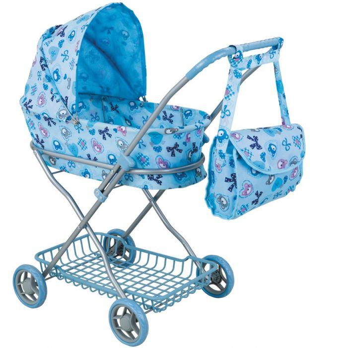 Коляска для кукол с сумкой и корзиной - Мишки, голубая