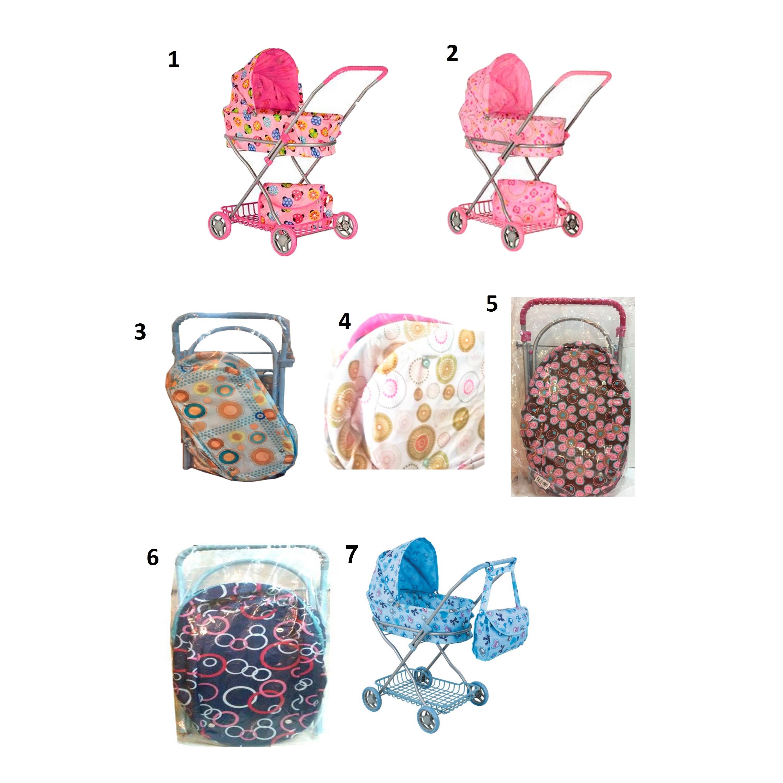 Коляска для кукол с сумкой и корзиной