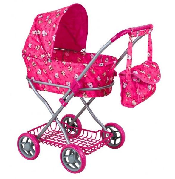Коляска для кукол с сумкой Buggy Boom Mixy - С мишками, розовая