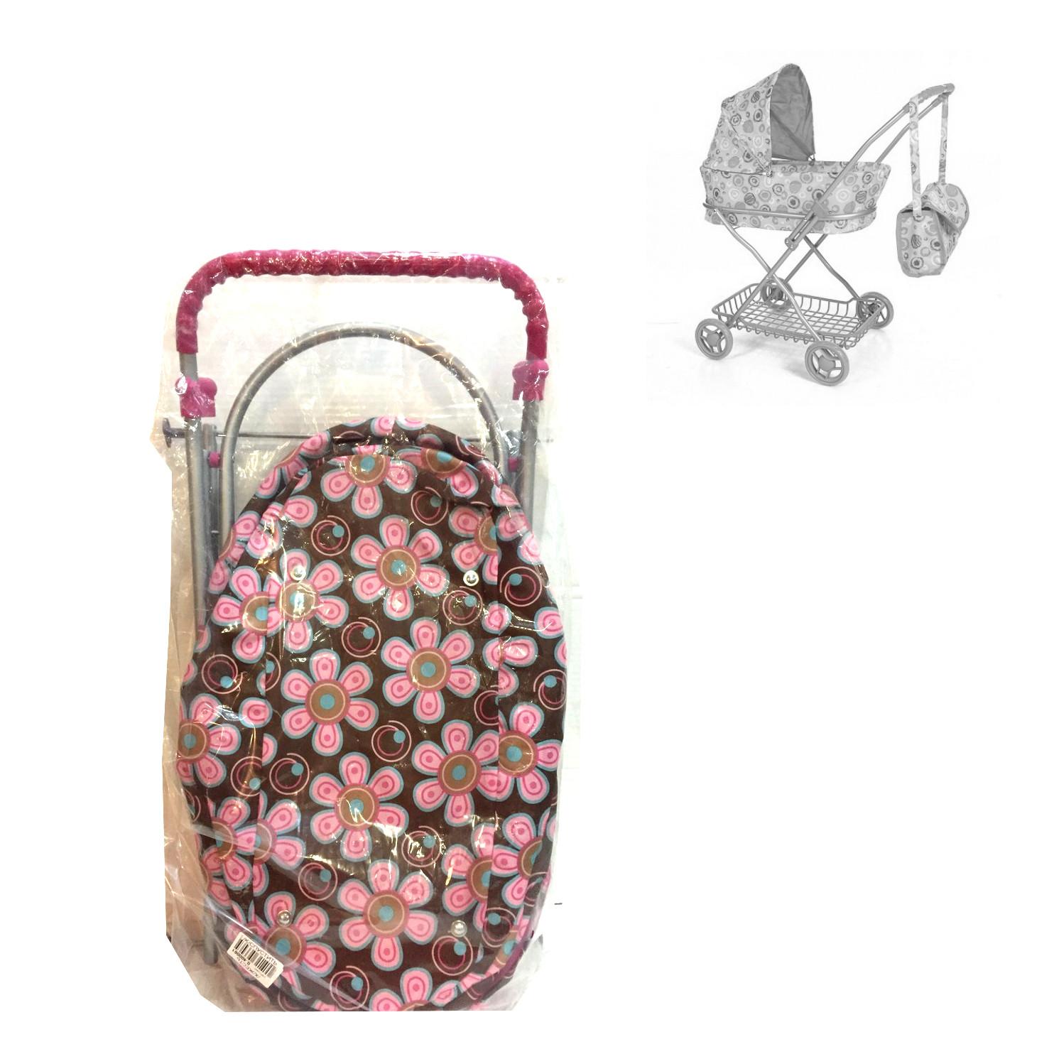 Коляска для кукол с сумкой и корзиной, коричневая