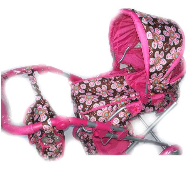 Коляска-трансформер для кукол, с сумкой, розовая, в цветочек