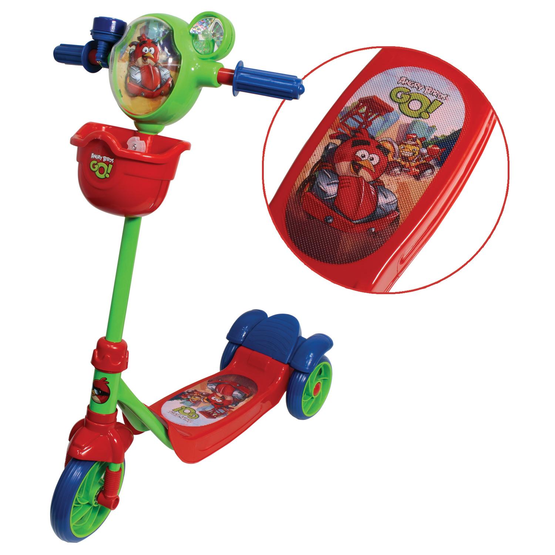 Трехколесный самокат Angry Birds Go с корзинкой