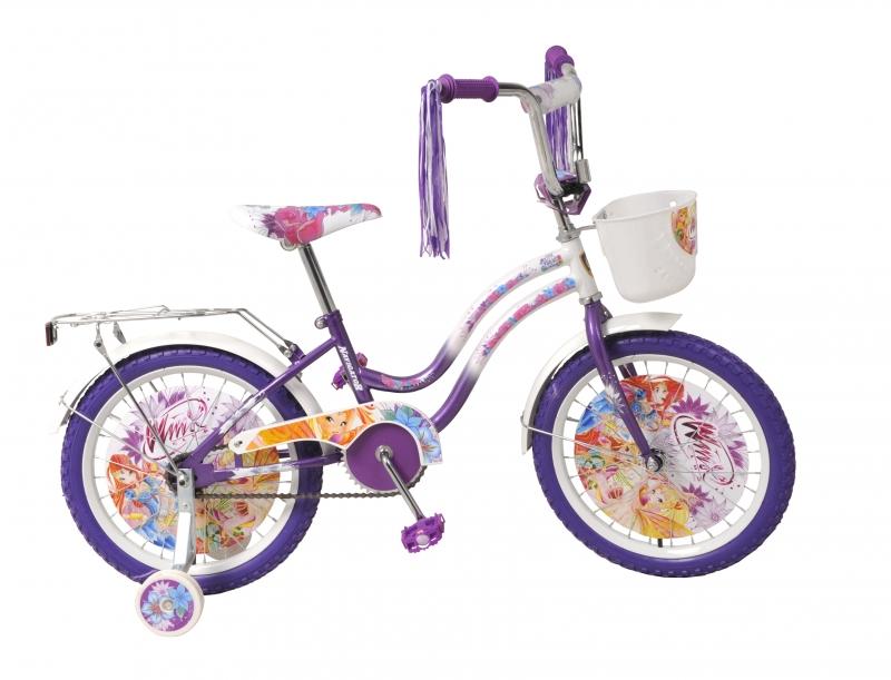 Велосипед с дополнительными колесами Winx, фиолетово-белый