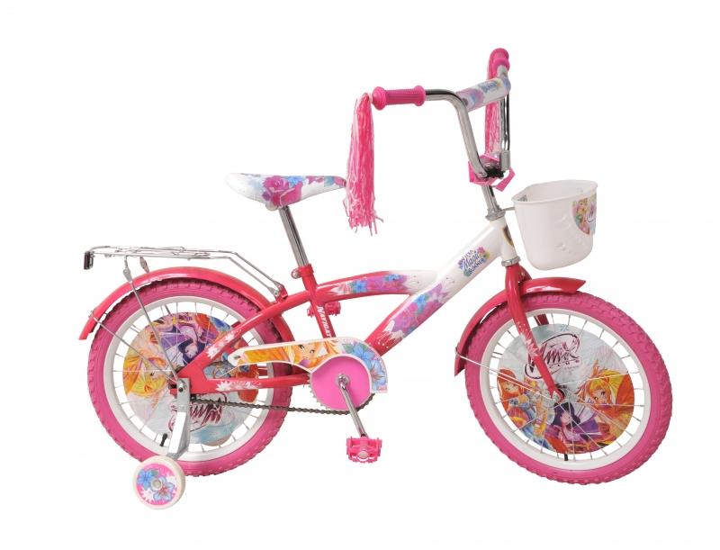 Велосипед с корзинкой Winx, розово-белый
