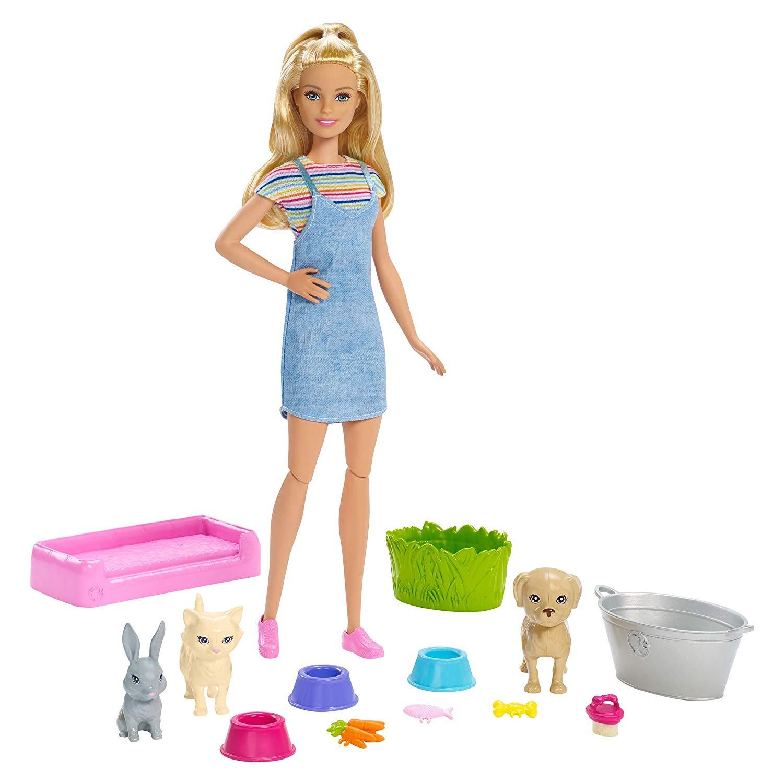 """Игровой набор """"Барби"""" - Блондинка с питомцами, меняющими цвет"""