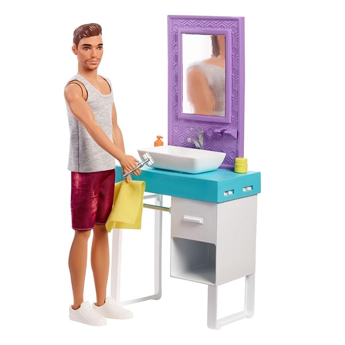 "Кукла Барби ""Кен с набором мебели"" - Брюнет и ванная комната"