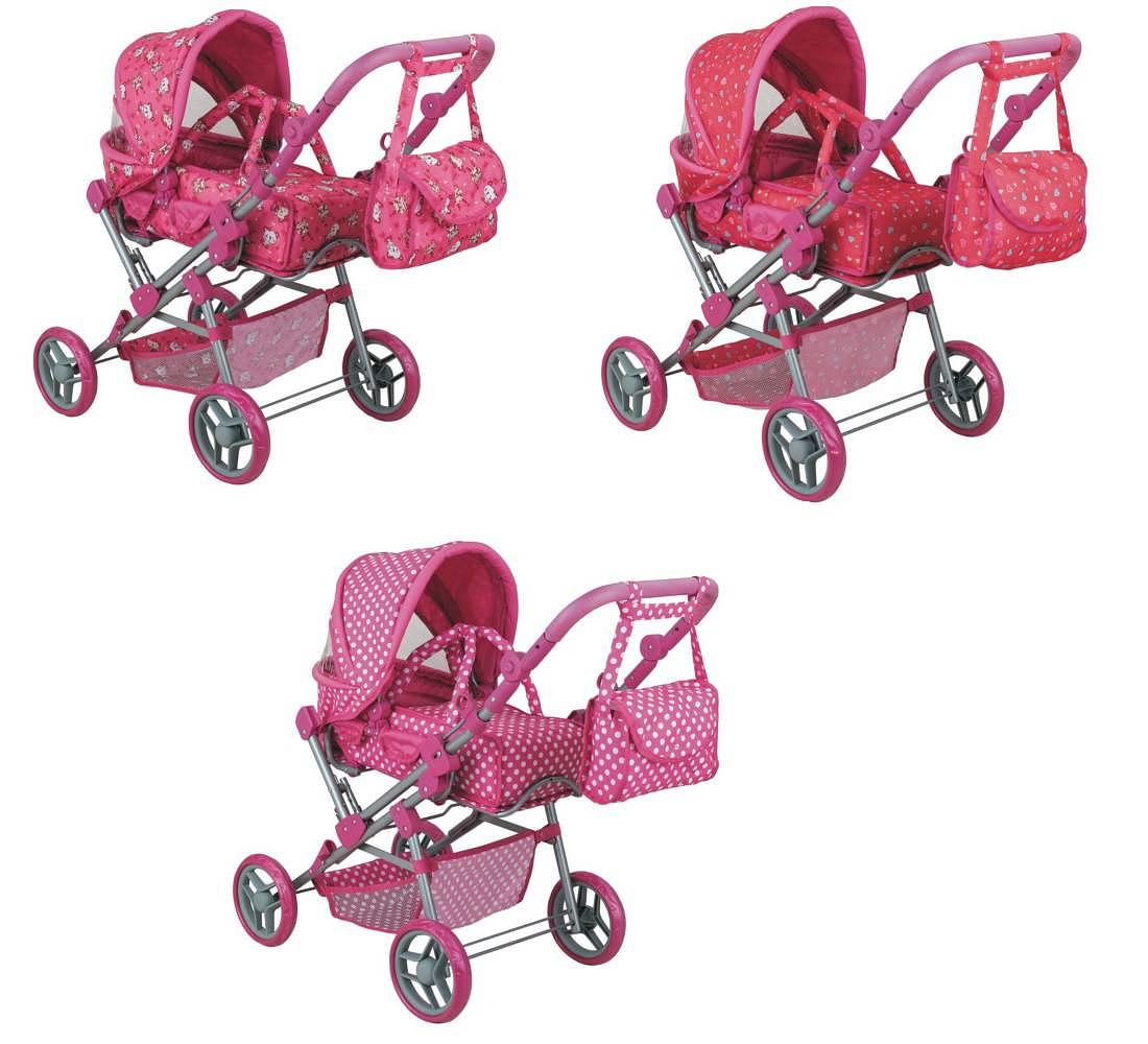Розовая коляска-трансформер для кукол Buggy Boom Infinia, 82 см